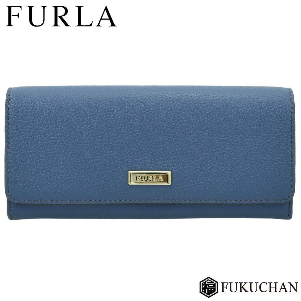【FURLA/フルラ】RITZY XL BIFOLD リッツィー 二つ折り長財布 ブルー系×ゴールド金具 932666 【中古】