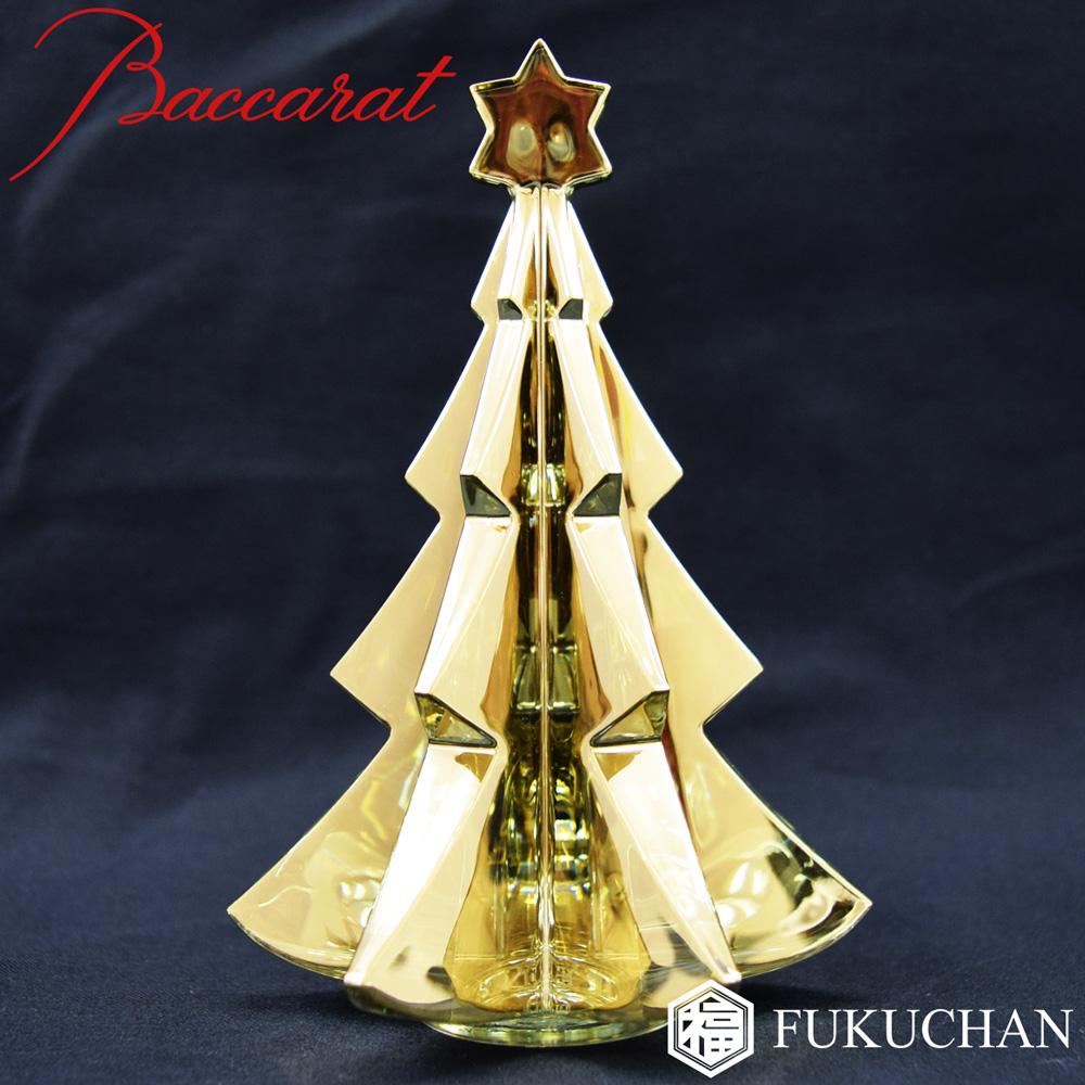 【Baccarat/バカラ】クリスマスオーナメント ノエル メリベル ゴールド ツリー オブジェ/置物 2811845 【中古】