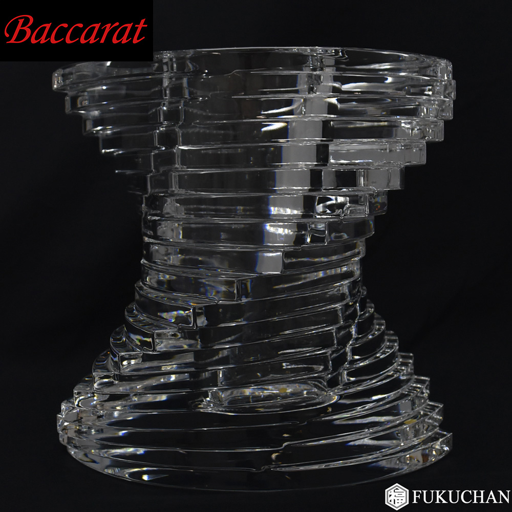 【Baccarat/バカラ】twist/ツイスト ベース/花瓶 Lサイズ 23cm 2100991 【中古】≪送料無料≫