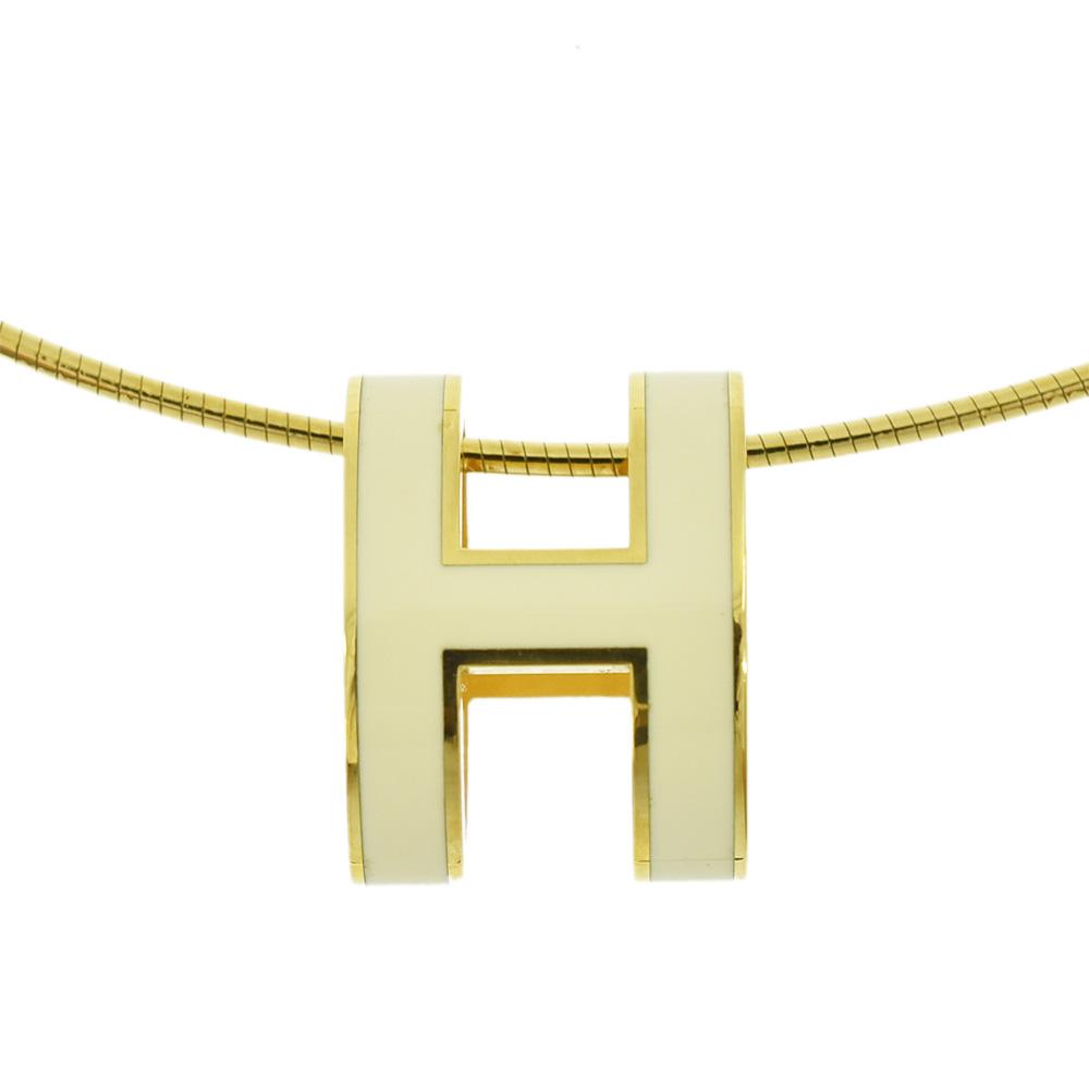 ◆35000円 → 30000円◆HERMES エルメス ポップアッシュ POP H ネックレス SV925×GP ゴールド×ホワイト H147001 レディース【中古】【送料無料】