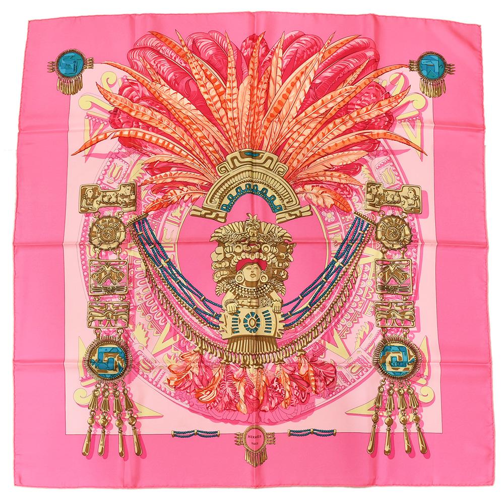 ◆24800円 → 21800円◆HERMES エルメス カレ90 大判スカーフ インディアン像 大仏柄 シルク100% ピンク×マルチカラー レディース【中古】