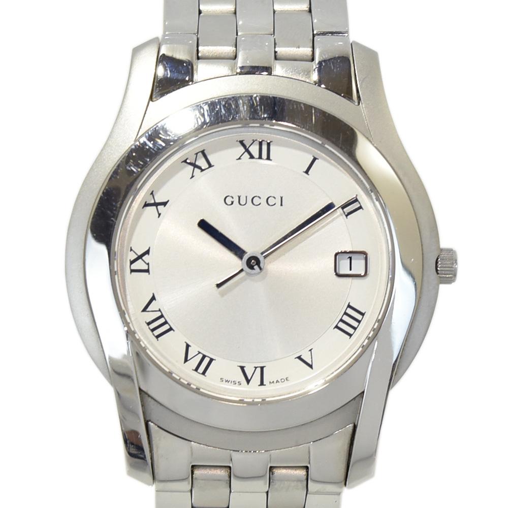 ◆22800円 → 19800円◆GUCCI グッチ メンズウォッチ 腕時計 シルバー×シルバー文字盤 SS QZ 5500M 12516250 【中古】