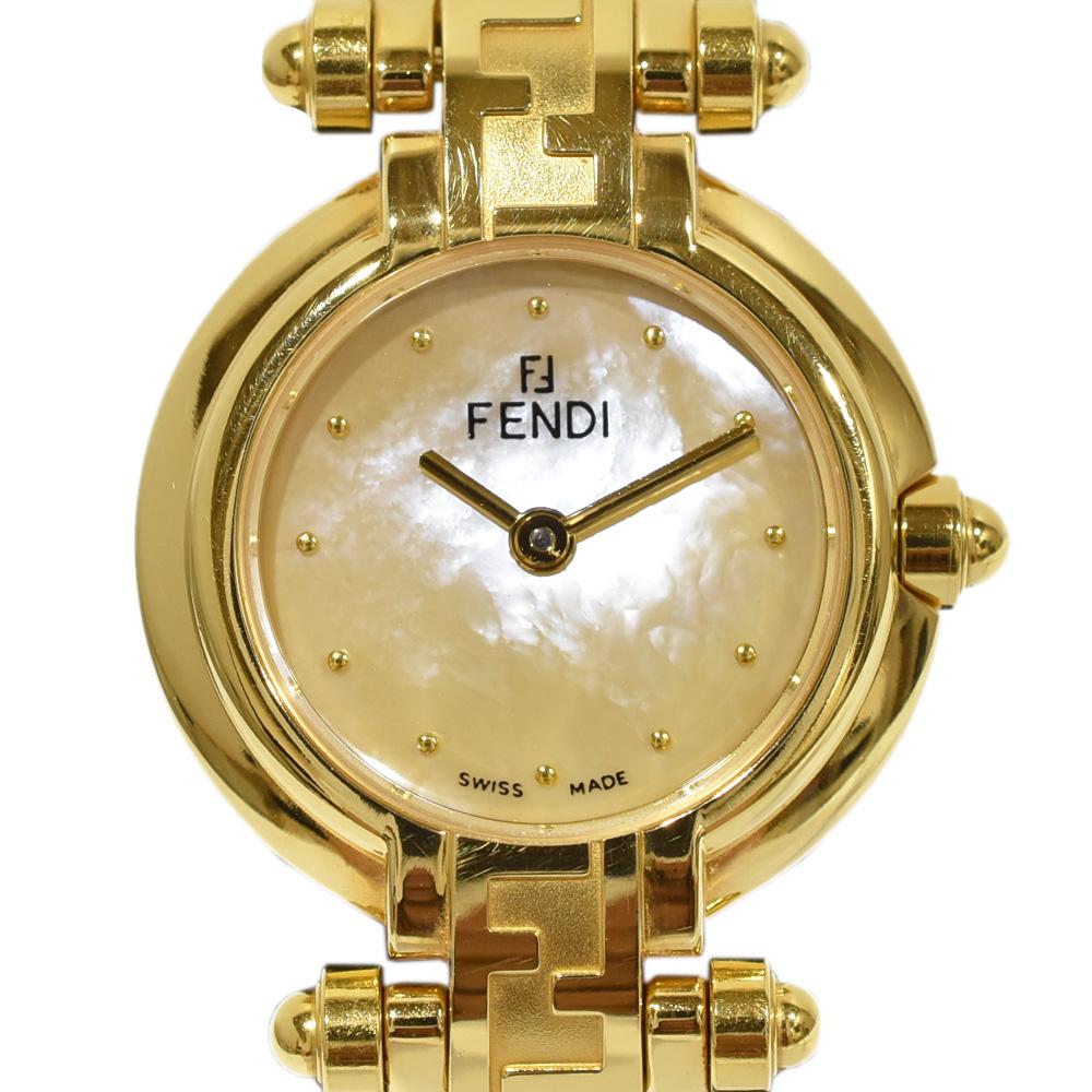 ◆22800円 → 19800円◆FENDI フェンディ ダブルF レディースウォッチ シェル文字盤 クオーツ 腕時計 770 L【中古】