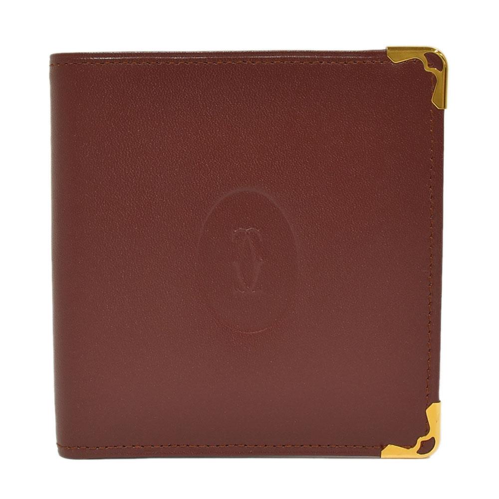 ◆14800円 → 12800円◆Cartier カルティエ マストライン 二つ折り財布 ボルドー×ゴールド金具 レディース【中古】
