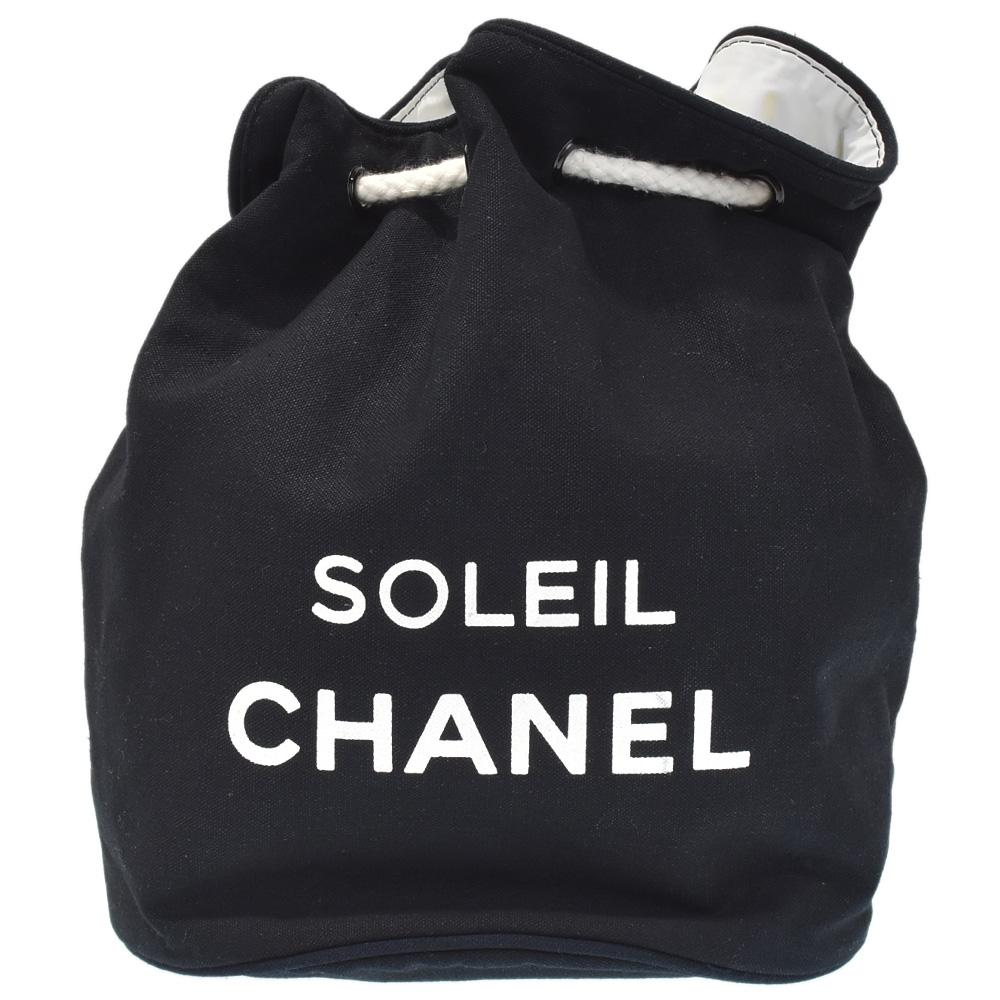 ◆15800円 → 13800円◆CHANEL シャネル キャンバス 巾着 ショルダーバッグ ロゴ ブラック×ホワイト ノベルティ レディース【中古】