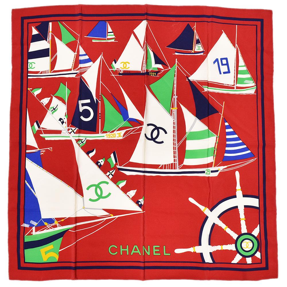 CHANEL シャネル ship 船 ココマーク 大判 女性 スカーフ シルク100% レッド×ホワイト×マルチカラー レディース【中古】
