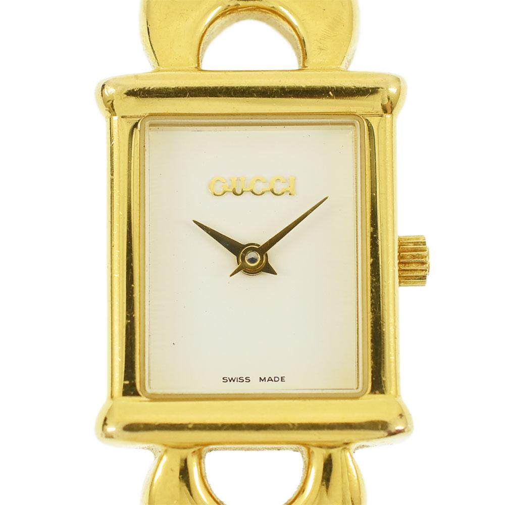 GUCCI グッチ レディースウォッチ 腕時計 ホワイト文字盤 QZ チェンジベルト GP×レザー 1800L レディース【中古】