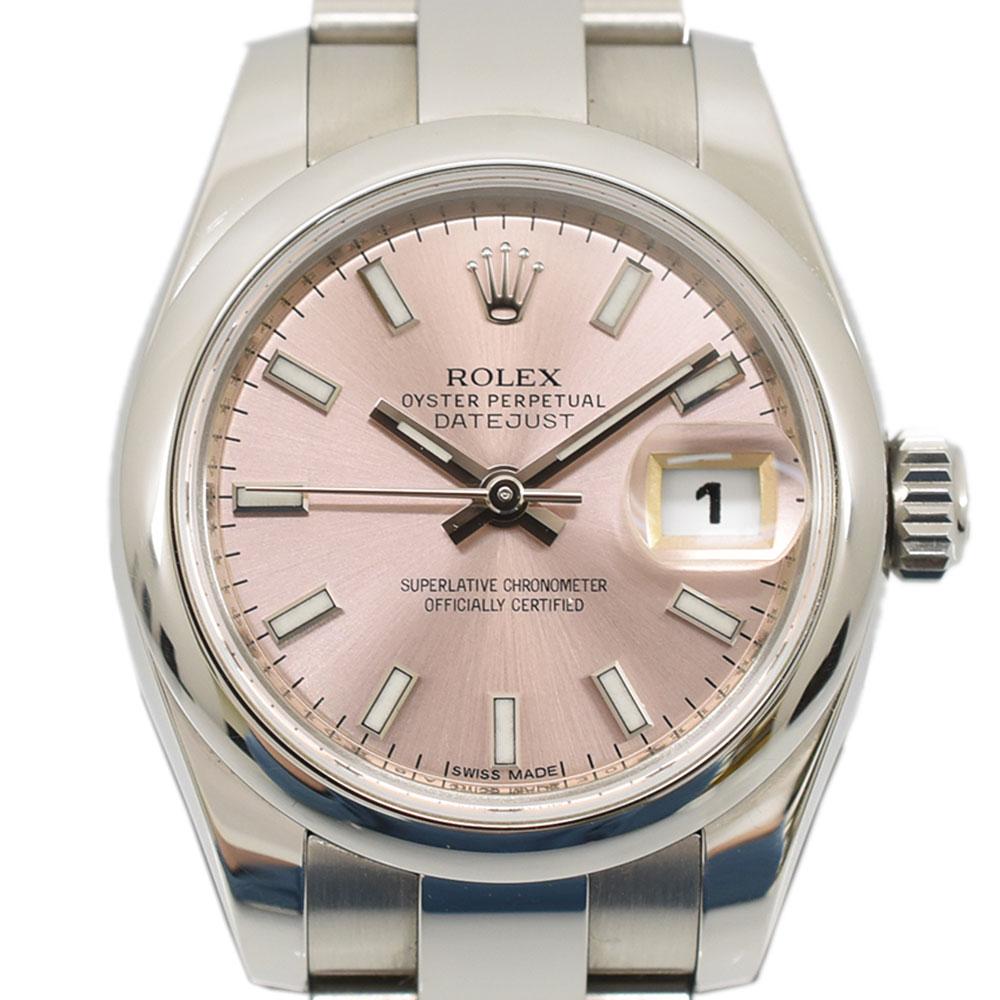 ROLEX ロレックス 腕時計 オイスターパーペチュアル デイトジャスト ピンク文字盤 レディースウォッチ ローマインデックス SS×AT 179160【中古】【送料無料】