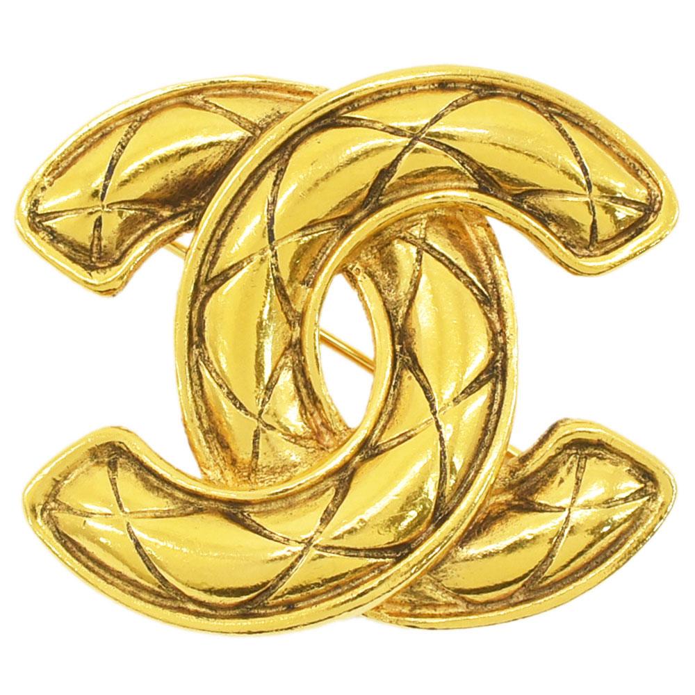 CHANEL シャネル ココマーク 国内在庫 マトラッセ ブローチ 新着 ヴィンテージアクセサリー ゴールド 送料無料 GP 中古 レディース