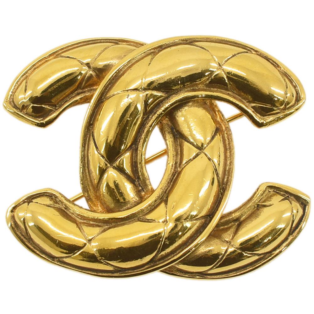 人気ブランド多数対象 CHANEL シャネル 毎日激安特売で 営業中です ココマーク マトラッセ ブローチ ヴィンテージアクセサリー 送料無料 レディース GP 中古 ゴールド