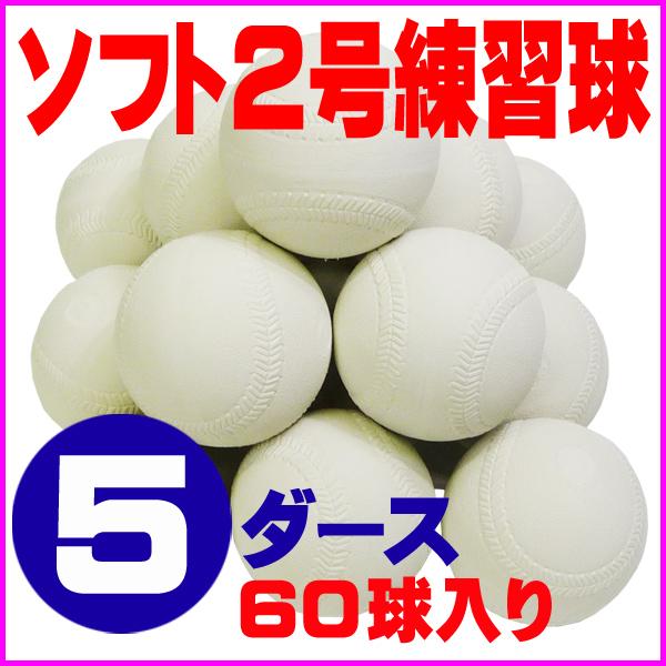 【送料無料】 超特価 ソフトボール 2号 練習球 (スリケン・検定落ち・ナイガイ製) 5ダース (60球入り) Training-soft2-60【02P05Nov16】
