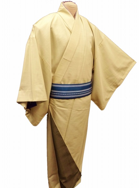 【新品】化繊 男物 メンズ 袷仕立て 着物 黄色の無地 S・M・L・LL・3L の5サイズ 【新宿店在庫】送料無料 和装 和服  男性 送料無料 あす楽対応商品