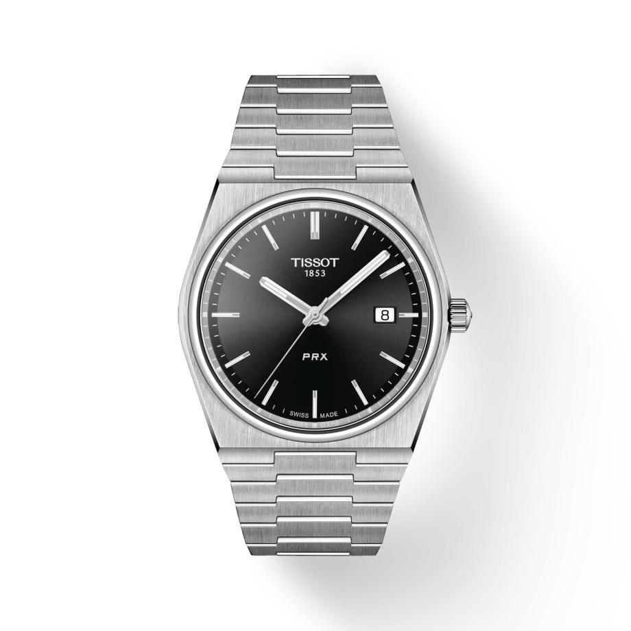 ティソ 正規販売店 メンズ 腕時計 TISSOT ピーアールエックス クオーツ ブラック文字盤 ブレスレット 送料無料 ウォッチ メンズウォッチ クォーツ 防水腕時計 10気圧防水 PRX 25%OFF 時計 ブランド 電池 引出物