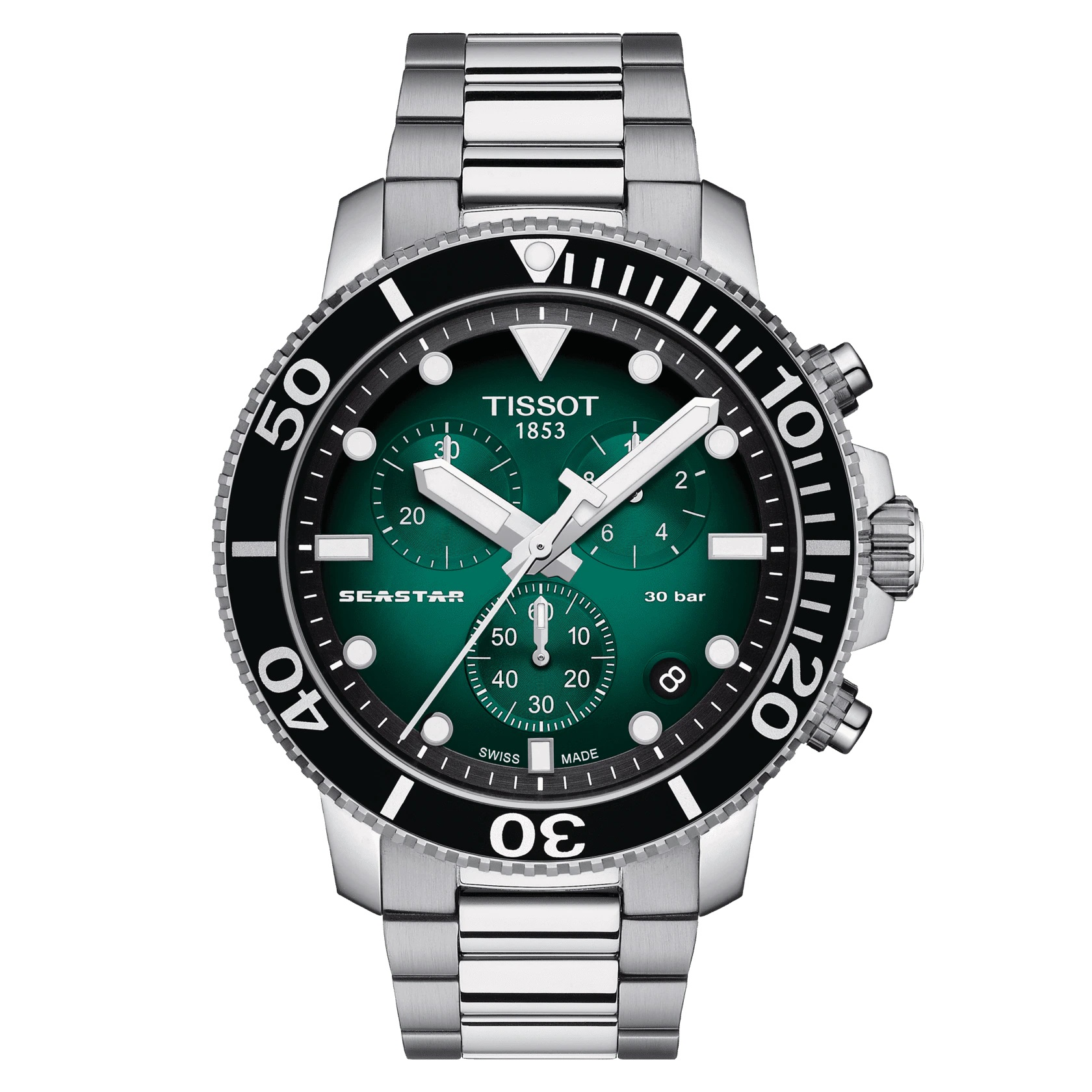 ティソ 正規販売 メンズ 腕時計 TISSOT シースター 1000 クォーツ クロノグラフ グリーン文字盤 メタルブレス T120.417.11.091.01