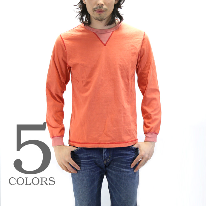 BARNS outfitters バーンズ クルーネックガゼット 長袖Tシャツ BR-3043