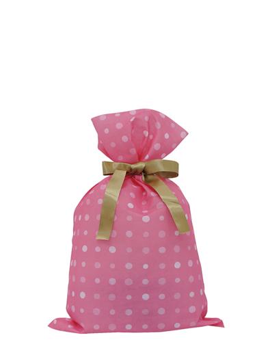 リボンの両端を引っ張るだけの簡単ラッピング 人気の製品 リボンの表裏が無い為 だれが結んでもきれいに仕上がります 不織布リボン付巾着袋 200 170幅×300高 ドットSピンク ラッピング無料