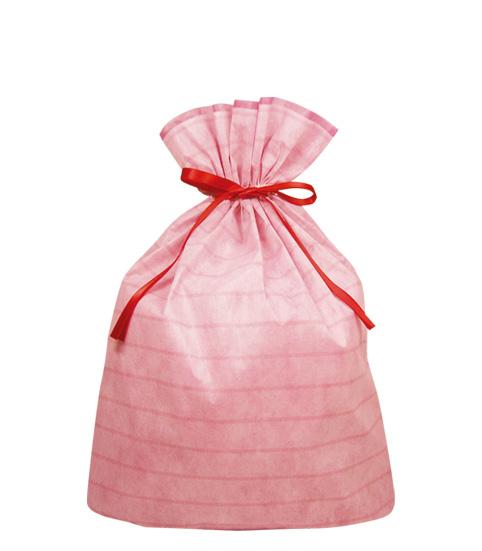 (お徳用)不織布リボン付巾着袋(底マチ付)ボーダーLLピンク450幅×560高(420) 【送料無料】
