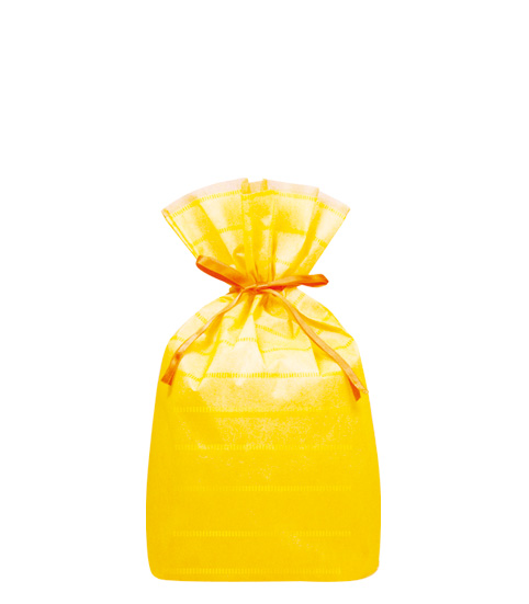 (お徳用)不織布リボン付巾着袋(底マチ付)ボーダーLイエロー310幅×430高(300)