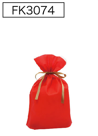 不織布が二重になって底マチもついています 不織布リボン付巾着袋 底マチ付 レッドS 180 販売 SALENEW大人気 170幅×280高 10枚入
