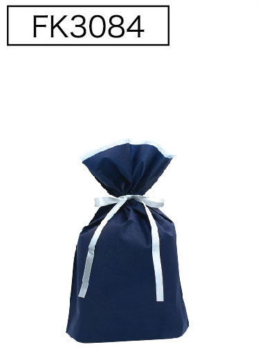 返品不可 不織布が二重になって底マチもついています 不織布リボン付巾着袋 底マチ付 卓越 ネイビーS 10枚入 170幅×280高 180