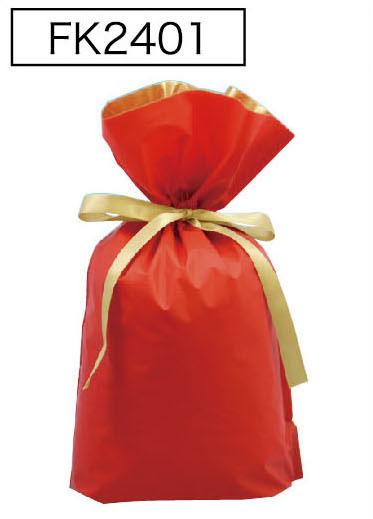 梨地リボン付き巾着袋レッドLL 200枚(20枚×10P)サイズW450×H560×マチ120mm【送料無料】