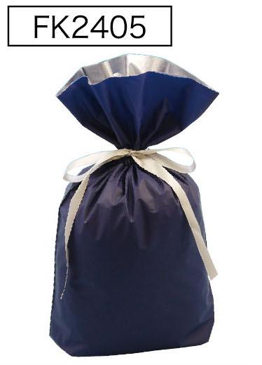 梨地リボン付き巾着袋(底マチ付き)ネイビーLL 200枚(20枚×10P)サイズW450×H560×マチ120mm【送料無料】