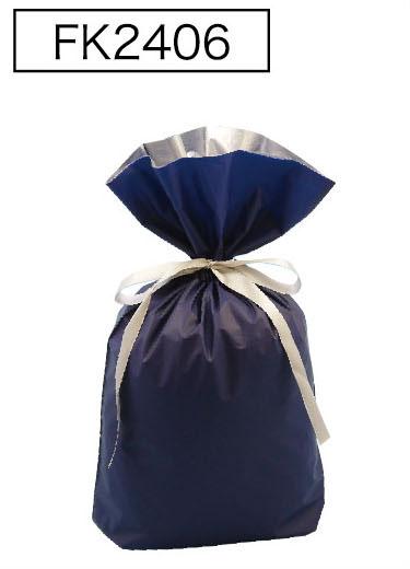 梨地リボン付き巾着袋(底マチ付き)ネイビーL 200枚(20枚×10P)サイズW310×H430×マチ120mm