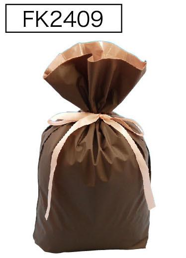 梨地リボン付き巾着袋(底マチ付き)ブラウンLL 200枚(20枚×10P)サイズW450×H560×マチ120mm【送料無料】