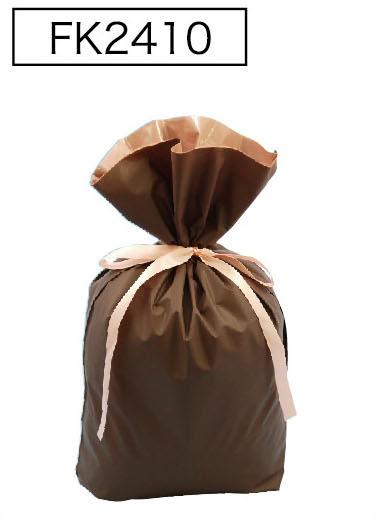 梨地リボン付き巾着袋(底マチ付き)ブラウンL 200枚(20枚×10P)サイズW310×H430×マチ120mm