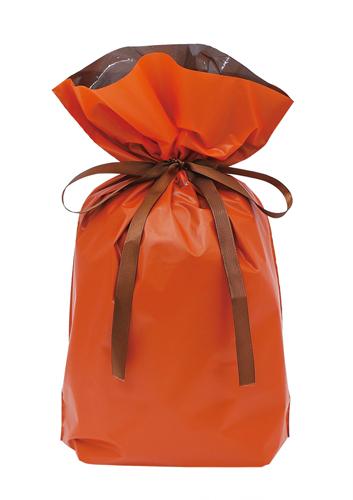 梨地リボン付き巾着袋(底マチ付き)オレンジLL 200枚(20枚×10P)サイズW450×H560×マチ120mm