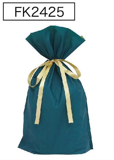 梨地リボン付き巾着袋ダークグリーンLL 200枚(20枚×10P)サイズW450×H560×マチ120mm【送料無料】
