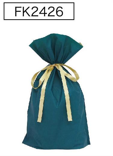梨地リボン付き巾着袋(底マチ付き)ダークグリーンL 200枚(20枚×10P)サイズW310×H430×マチ120mm