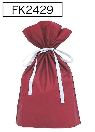 梨地リボン付き巾着袋ワインレッドLL 200枚(20枚×10P)サイズW450×H560×マチ120mm【送料無料】