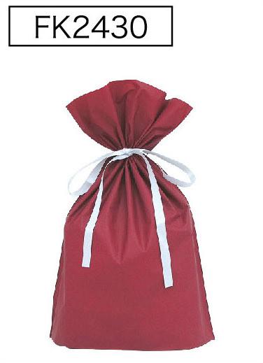 梨地リボン付き巾着袋(底マチ付き)ワインレッドL 200枚(20枚×10P)サイズW310×H430×マチ120mm