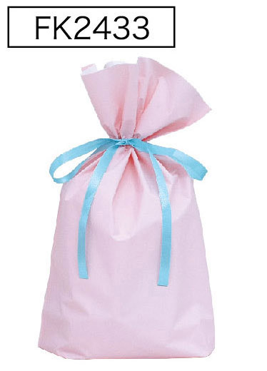 梨地リボン付き巾着袋パステルピンクLL 200枚(20枚×10P)サイズW450×H560×マチ120mm【送料無料】
