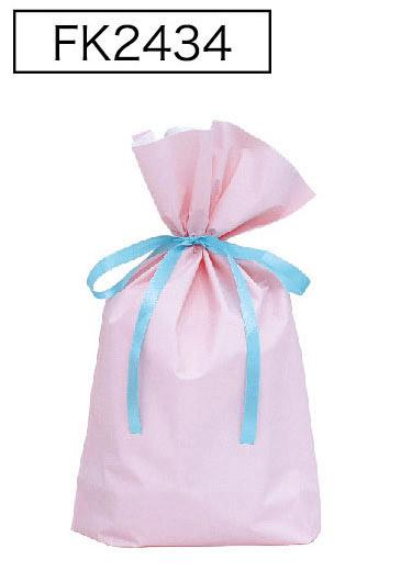 梨地リボン付き巾着袋(底マチ付き)パステルピンクL 200枚(20枚×10P)サイズW310×H430×マチ120mm