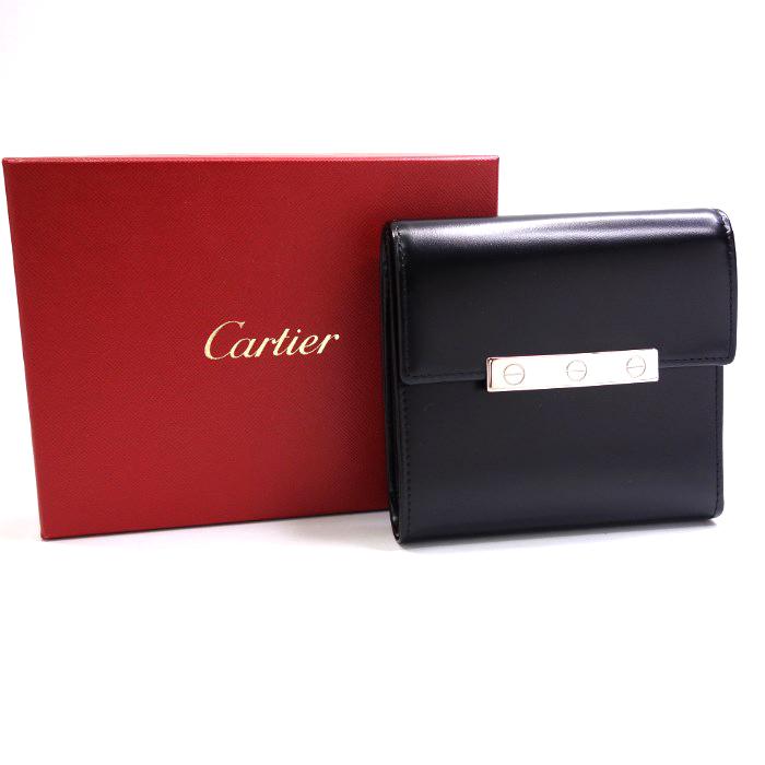 【中古】カルティエ Cartier サイフ 三つ折り 革 カーフ 黒 ブラック L3000744 38364