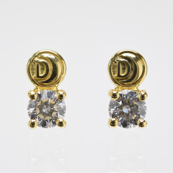 【中古】ダミアーニ DAMIANI グリフ ロゴ ピアス イエローゴールド YG ダイヤモンド 約0.40ct