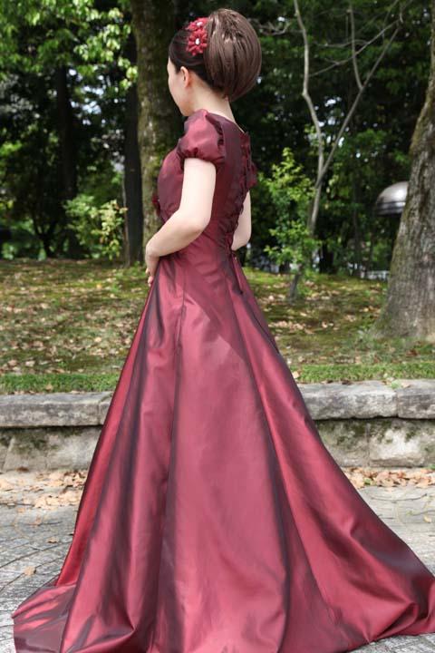 白雪姫×クラシカル パフスリーブの袖付きロングフレアードレス グリーン 緑 レッド 赤 パープル 紫 ゴールド 金色 S号 M号 L号