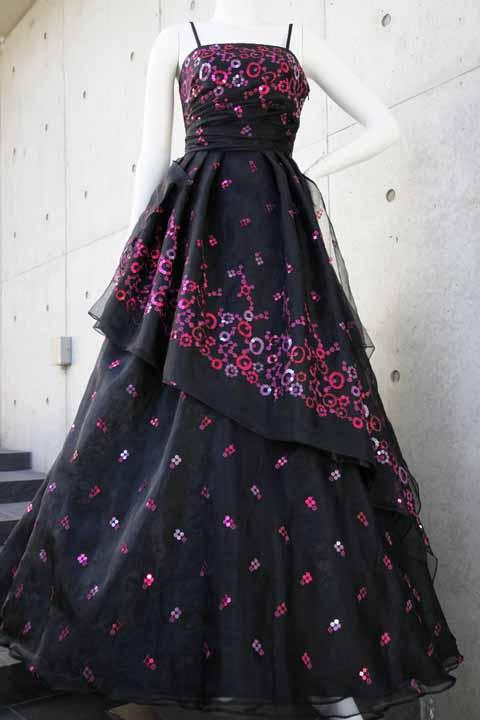 数量限定 イタリア製オーガンジーで仕立てるふわひら羽根とオーバースカート付き風フレアーロングドレス ブラック 黒 S号 M号 L号 製作期間約1ヶ月