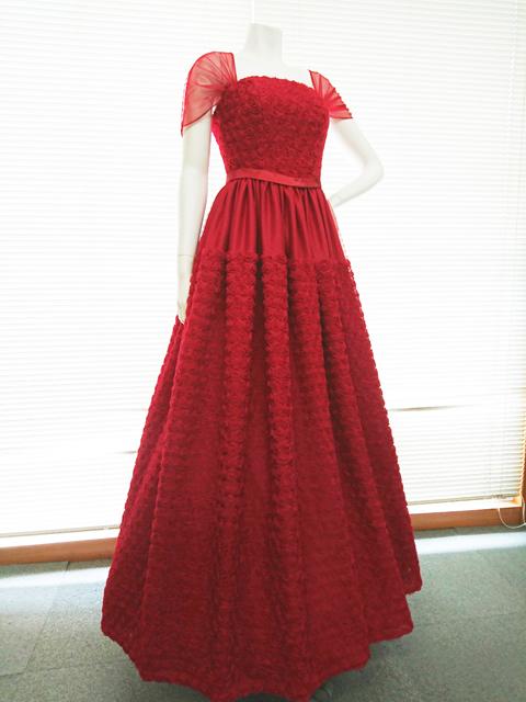 数量限定 豪華な花柄のリボンテープ刺繍入りレッド(赤色)チュールネットの袖付きフレアーロングドレス S号 M号 L号