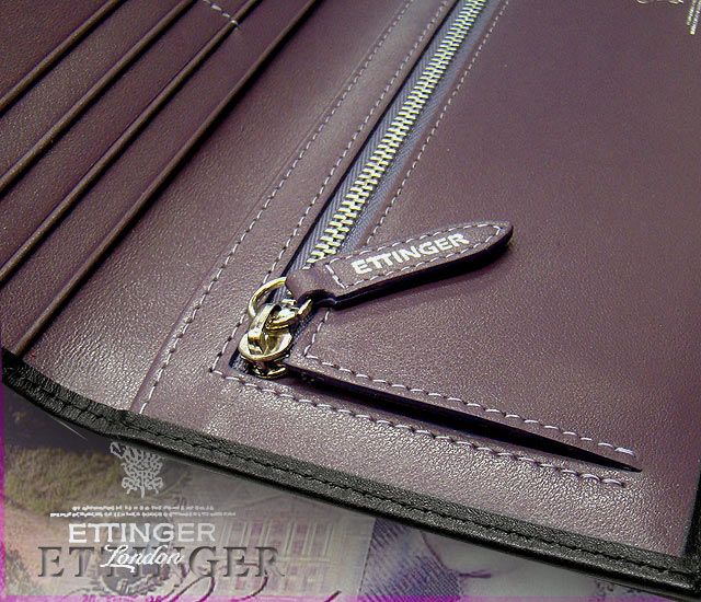 Ettinger-Royal collection (LONG WALLET WITH ZIP) ♦ rubx wallet 953 AEJR purple collection men's leather long wallet Sterling collection