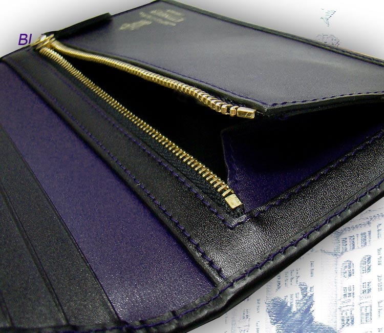 ♦-BLACK-PURPLE EURO collection rubx wallet 953 AEJR black - purple euro (Note / long wallet / purse by / leather wallet card with put / men)