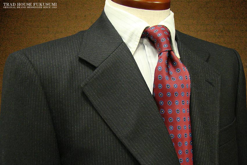 [秋冬] 三ツ釦段返り濃紺ストライプ柄 アメリカントラッドスーツ [ 67213#1 ] トラッドスーツ