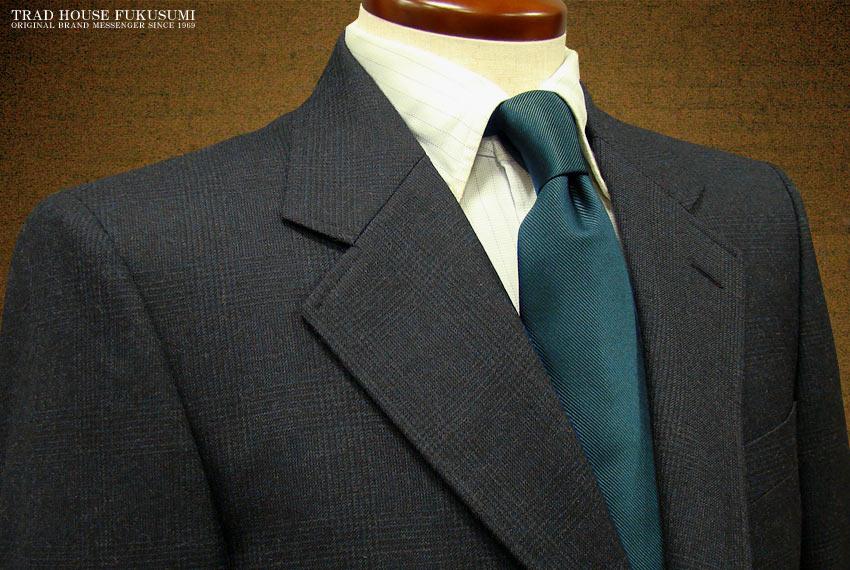 [秋冬] 三ツ釦段返り濃紺グレンチェック柄 アメリカントラッドスーツ [ 72723#1 ] トラッドスーツ