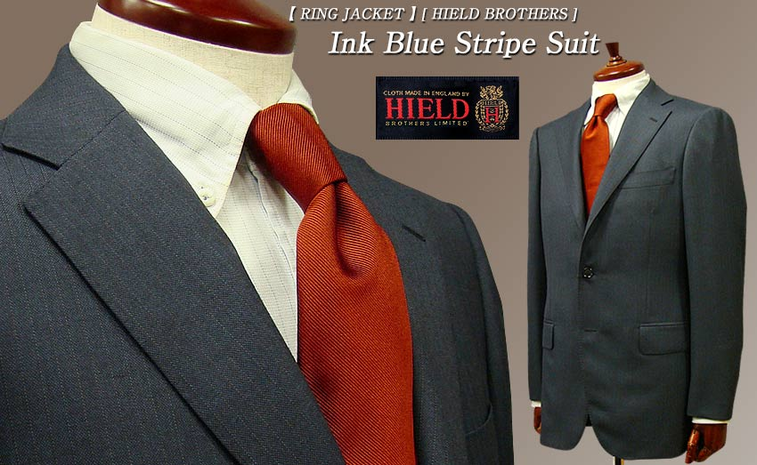 Fall/winter [HIELD BROTHERS] 3 star-button-return ink blue striped suit  (23F07X) [STYLE 172] (maker hope price \110000/ tax not included)