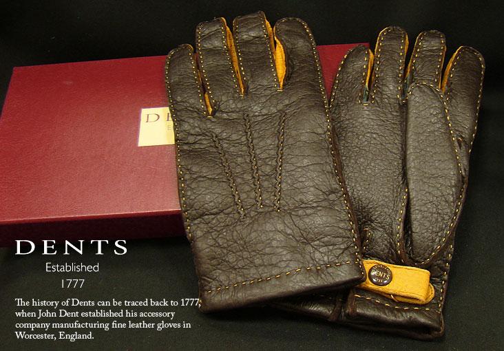 [デンツ社公認販売店]DENTS 手袋 / デンツ手袋 PECCARY / ペッカリー ( 猪豚革 ) 3カラーコンビネーション [ BARK / バーク ] 15-1614