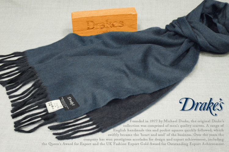 DRAKE'S/ ) ドレイクス マフラー ( インディゴブルー×ネイビー 18751-001 )/ 18751-001, Victoria L-Breath:bdb2e862 --- reinhekla.no