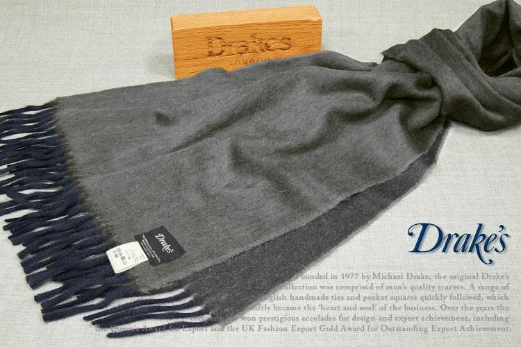 DRAKE'S )/ ドレイクス 18751-005 マフラー ( ( グレー×ネイビー ) 18751-005, A-スロット:1f400c18 --- sunward.msk.ru