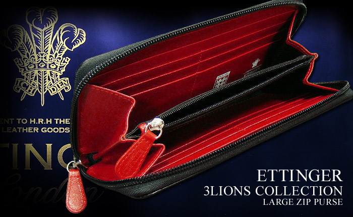 3 Lions-collection (2051JR/3 LIONS / white logo and NAVY * RED) (mens / leather / long wallet / purse / three lions)